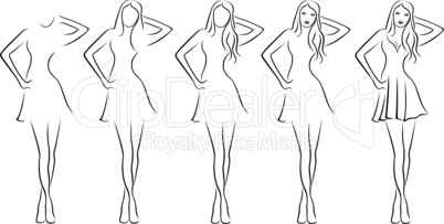 Beautiful young women contour in drawing sequence