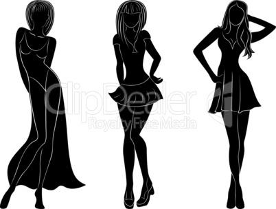 Three slim attractive women silhouettes