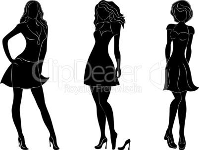 Three beautiful slim women silhouettes
