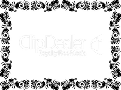 Black and white frame of blank with floral elements