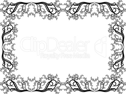 Black and white frame with floral elements