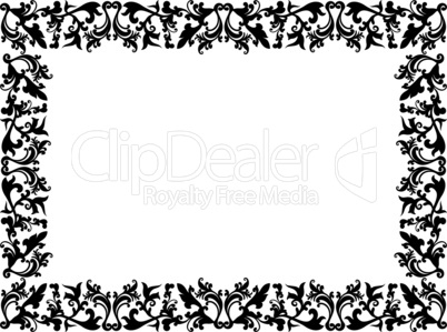Black and white floral elements on blank frame