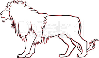 Black and red graceful Lion contour