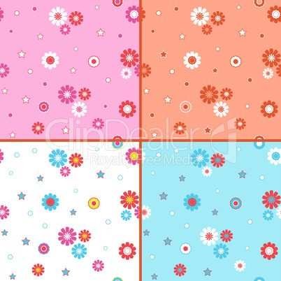Four seamless vector patterns with daisies