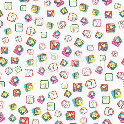 Seamless vector pattern with squares with rounded corners