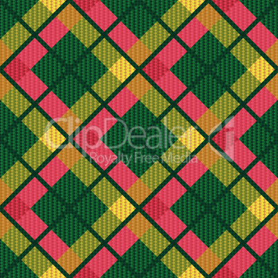 Checkered diagonal tartan fabric seamless texture