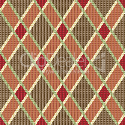 Rhombic tartan red and brown fabric seamless texture