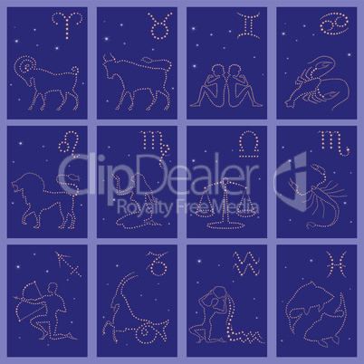 Twelve black silhouettes of Zodiac signs