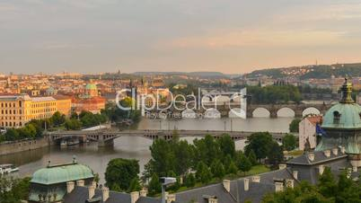 roofs and bridges of prague sundown time lapse pan 11379