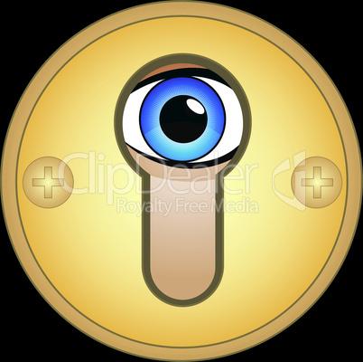 Eye in golden keyhole