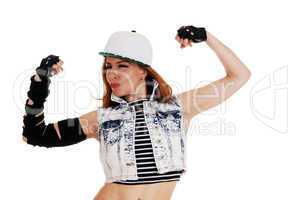 Hip-Hop woman showing muscles.