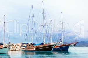 sailing ships in the sea bay
