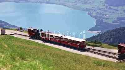 Diesel train railway going to Schafberg Peak, St. Wolfgang