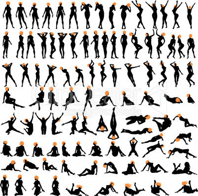 100 naked sexy girls silhouettes