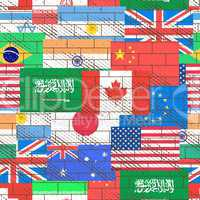 Seamless background of flags