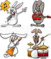 rabbits rock musicians set cartoon
