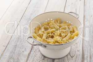 Tortiglioni Pasta in a sieve