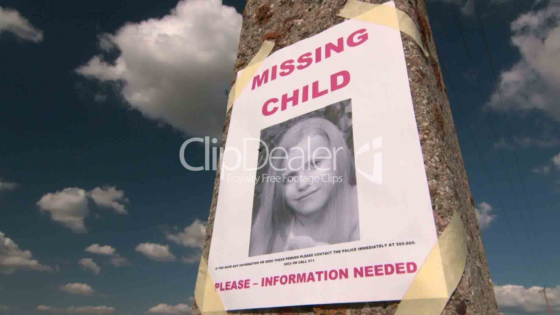 Missing person poster with photo of little girl Royaltyfree video
