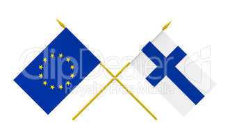Flags, Finland and European Union