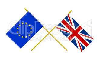 Flags, United Kingdom and European Union