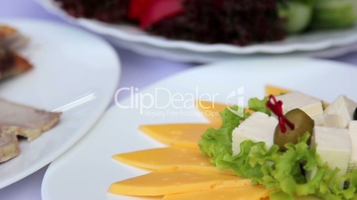 Dish from a variety of cheeses.Cheese appetizer.