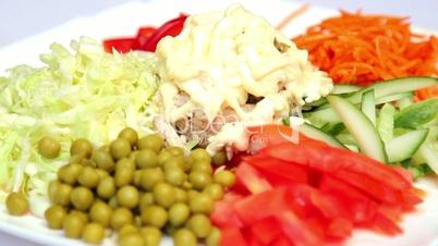 Salad of fresh vegetables.Fresh, chopped vegetables for a salad.