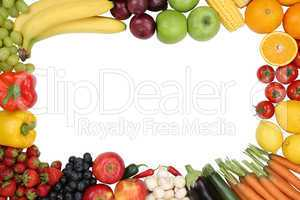 Gesunde Ernährung Früchte, Obst und Gemüse mit Textfreiraum
