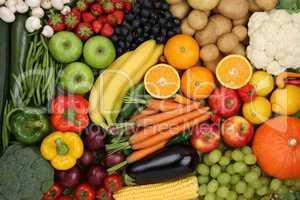 Gesunde Ernährung Obst, Früchte und Gemüse Hintergrund