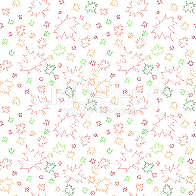 Seamless pattern with contours of autumn leaves