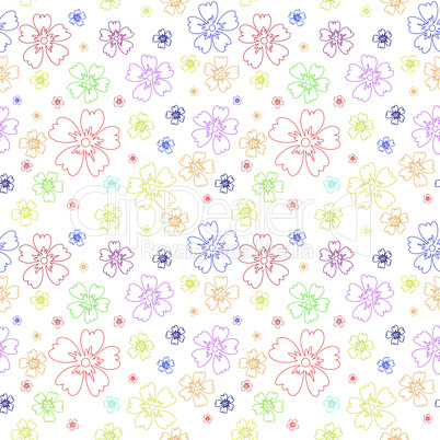 Seamless pattern with contours of flowers