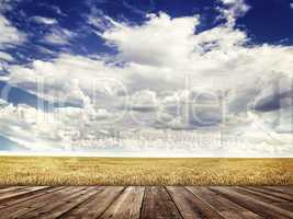 Wood floor and  agricultural fields