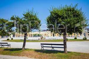 Schonbrunn Palace royal residence garden with fountain sculpture