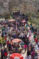 Bazaar in the Old City of Jerusalem .