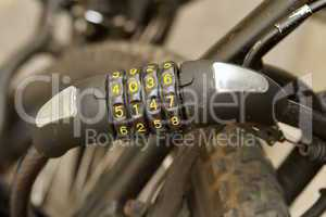 Padlock with numbers for bicycle