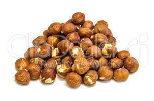 Heap of hazelnuts .