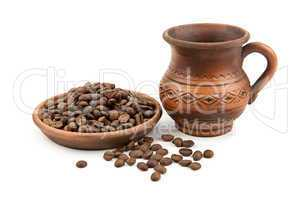 pottery and coffee beans