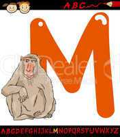 letter m for macaque cartoon illustration