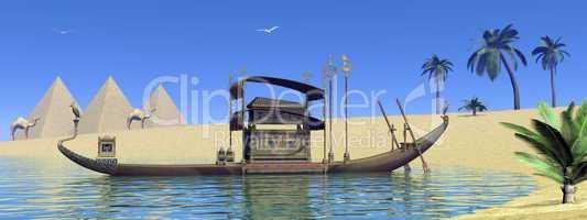 Tomb on sacred barge in Egypt - 3D render