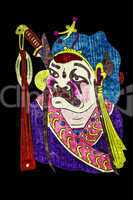 Chinese tradition opera mask, isolated on black background