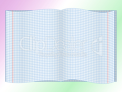 Open chequered school notebook