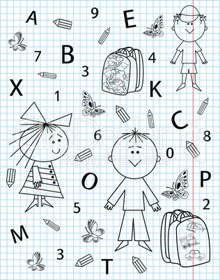 School kit on notebook sheet