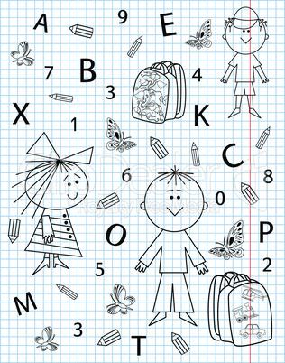 School kit on notebook sheet