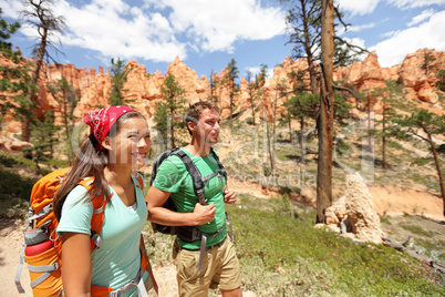 People hiking - couple hikers in Bryce Canyon