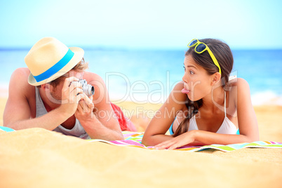 Young couple having fun on beach