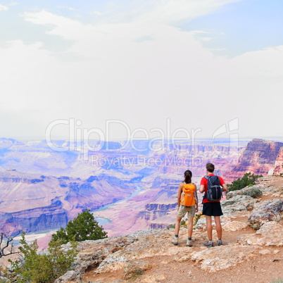 Grand Canyon - people hiking looking at view