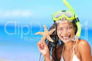 Beach travel people - woman with snorkel