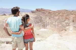 Death Valley tourists in California enjoying view