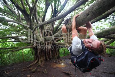 Banyan tree and hiker, Maui, Hawaii