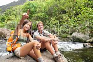 Hiking people in outdoor activity on Hawaii