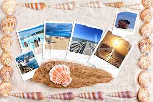 Urlaubsfotos auf liegen auf Sand mit Muscheln